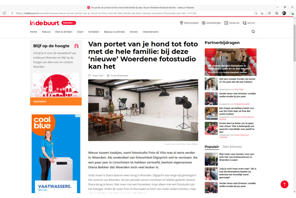 Stukje over de nieuwe fotostudio van Foto di Vita in Woerden.